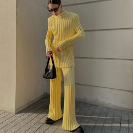 Solid Color Pit Strip Shoulder Pads Sweatertwo-piece Set  Nihaostyles Wholesale Clothing Vendor NSHML75507