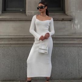 Strapless Rabbit Fur Horn Sleeve Dress Nihaostyles Wholesale Clothing Vendor NSHML75509