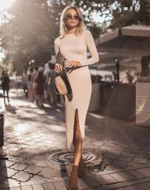 Solid Color Split Long Slim Sexy Dress Nihaostyles Wholesale Clothing Vendor NSHML75517