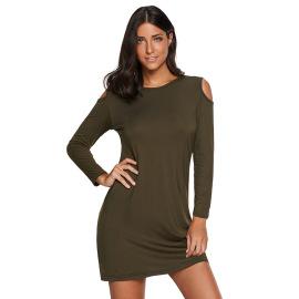 Long-sleeved Slim Strapless Round Neck Short Dress Nihaostyles Wholesale Clothing Vendor NSHML75519
