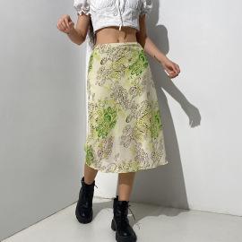 Flower Pattern Printing Slim A-line Skirt Nihaostyles Wholesale Clothing Vendor NSSSN75549