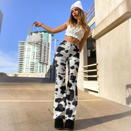 New Product Loose Straight Cow Print High-waisted Pants Nihaostyles Wholesale Clothing Vendor NSSSN75560