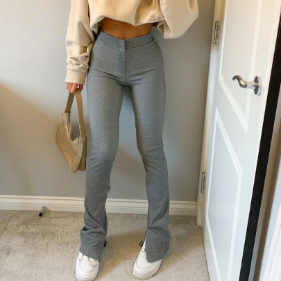 Solid Color Basic High-waisted Pants Nihaostyles Wholesale Clothing Vendor NSSSN75579