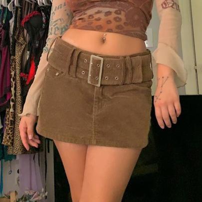 Retro High-waist Corduroy Short Skirt With Belt Nihaostyles Wholesale Clothing Vendor NSSSN75585