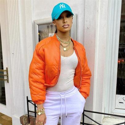 Solid Color Zipper Pocket Stand-up Collar Long-sleeved Short Cotton Jacket Nihaostyles Wholesale Clothing Vendor NSXPF75606