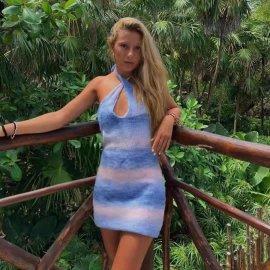 Gradient Color Halterneck Suspender Knitted Dress Nihaostyles Wholesale Clothing Vendor NSAM75629