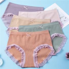 Mid-waist Women's Lace Trim Cotton Briefs 5 Pieces Nihaostyles Clothing Wholesale NSLSD75641