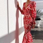 Women's V-neck Slim Fishtail Dress Nihaostyles Clothing Wholesale NSHHF75786