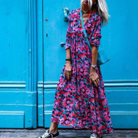Women's V-neck Floral Waist Dress Nihaostyles Clothing Wholesale NSHHF75790