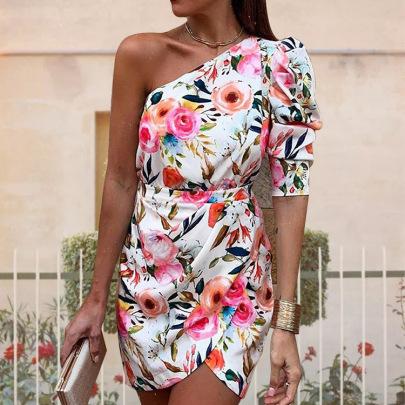 Women's Oblique Shoulder Irregular Printed Dress Nihaostyles Clothing Wholesale NSHHF75792
