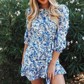 Women's Slim Round Neck Ruffle Dress Nihaostyles Clothing Wholesale NSHHF75793