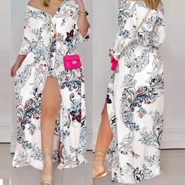 Women's Irregular Split Strapless Dress Nihaostyles Clothing Wholesale NSHHF75798