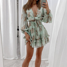 Women's Lace-up Ruffled V-neck Waist Dress Nihaostyles Clothing Wholesale NSHHF75799