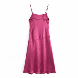 Bright Satin Pleated Sling Dress Nihaostyles Wholesale Clothing Vendor NSAM75830