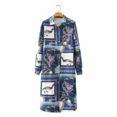 Lapel Printed Pigeon Chain Dress Nihaostyles Wholesale Clothing Vendor NSAM75835