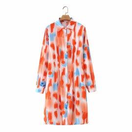 Long-sleeved Waist Printed Shirt Dress Nihaostyles Wholesale Clothing Vendor NSAM75836