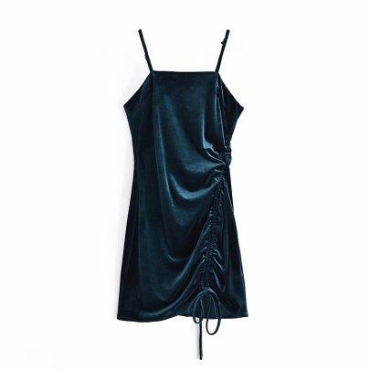Velvet Pleated Sling Dress Nihaostyles Wholesale Clothing Vendor NSAM75840