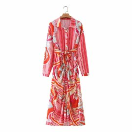 Rose Red Wave Pattern Super Long Dress Nihaostyles Wholesale Clothing Vendor NSAM75841