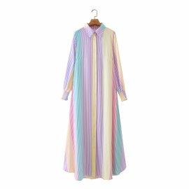 Color Matching Striped Slim Mid-length Shirt Collar Dress Nihaostyles Wholesale Clothing Vendor NSAM75842