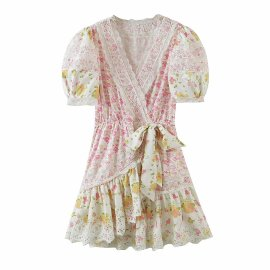 Embroidery Lace Puff Sleeve Bow Dress Nihaostyles Wholesale Clothing Vendor NSAM75845
