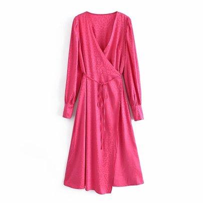 V-neck Jacquard Waist Long-sleeved Dress Nihaostyles Wholesale Clothing Vendor NSAM75846