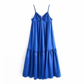 Sexy Sling Sleeveless Solid Color Long Large Swing Dress Nihaostyles Wholesale Clothing Vendor NSAM75847