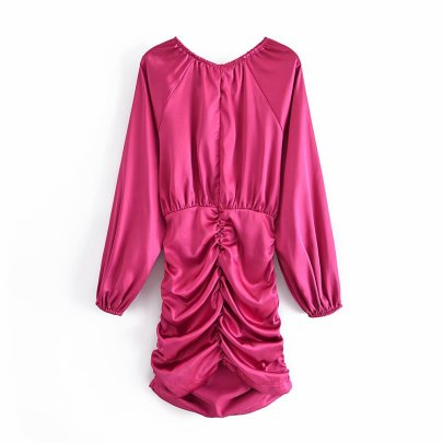 Pleated Satin Long-sleeved Round Neck Dress Nihaostyles Wholesale Clothing Vendor NSAM75848