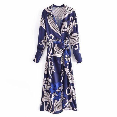 New Style Windbreaker-style Lapel Long-sleeved Lace-up Dress Nihaostyles Wholesale Clothing Vendor NSAM75851