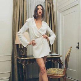 Lapel Wrap-up Lace-up Suit Dress Nihaostyles Wholesale Clothing Vendor NSAM75856