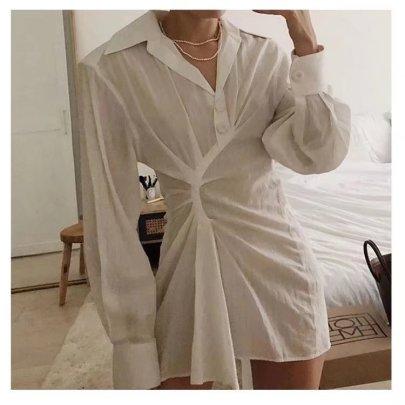 Folds Irregular Slim Fit V-neck Shirt Dress  Nihaostyles Wholesale Clothing Vendor NSAM75857