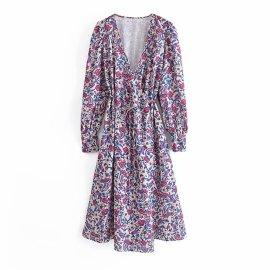 V-neck Squandered Long-sleeved Wrap Dress Nihaostyles Wholesale Clothing Vendor NSAM75859