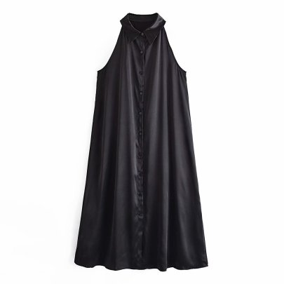 Sexy Silk Satin Texture Shirt Dress Nihaostyles Wholesale Clothing Vendor NSAM75861