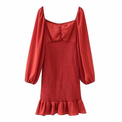 Solid Color Frill Trim Dress Nihaostyles Wholesale Clothing Vendor NSAM75881