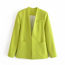 Solid Color Blazer Without Button Nihaostyles Wholesale Clothing Vendor NSAM75895