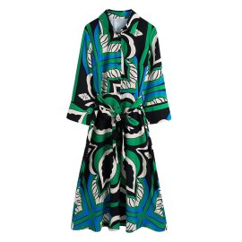 Fashion Printed Dress With Belt Nihaostyles Wholesale Clothing Vendor NSAM75899