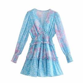 Floral High Waist Slim V-neck Pleated Puff Sleeve Dress Nihaostyles Wholesale Clothing Vendor NSAM75905