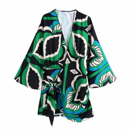 Wrap Waist Printing Dress Nihaostyles Wholesale Clothing Vendor NSAM75906