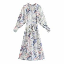 Fashion Long-sleeved Flower Printed Belt Dress Nihaostyles Wholesale Clothing Vendor NSAM75911