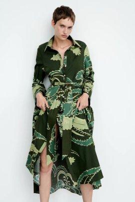Elegant Lapel Long-sleeved Waist Printed Dress Nihaostyles Wholesale Clothing Vendor NSAM75912