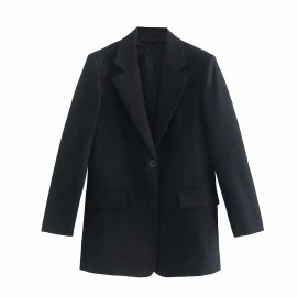 Fashion Black Shoulder Pad Loose Blazer Nihaostyles Wholesale Clothing Vendor NSAM75914