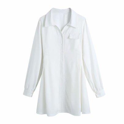 White Waist Shirt Dress Nihaostyles Wholesale Clothing Vendor NSAM75916