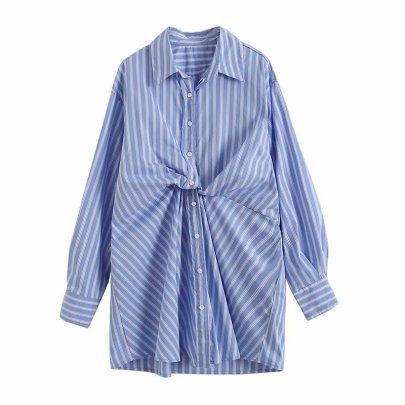 Striped Irregular Niche Loose Shirt Dress Nihaostyles Wholesale Clothing Vendor NSAM75918