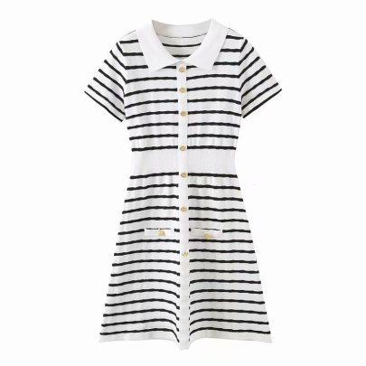 Fragrant Wind Polo Collar Striped Knitted Dress Nihaostyles Wholesale Clothing Vendor NSAM75920