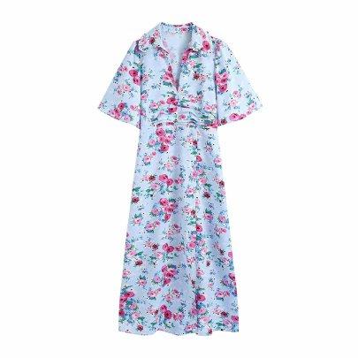 Autumn Flower Print Dress Nihaostyles Wholesale Clothing Vendor NSAM75921