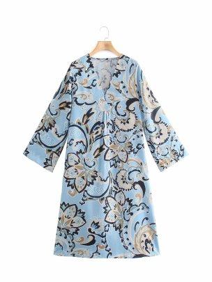 V-neck Printed Bouquet Waist Loose Dress Nihaostyles Wholesale Clothing Vendor NSAM75922