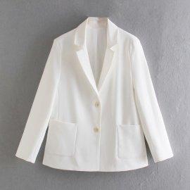 Solid Color Straight Blazer Nihaostyles Wholesale Clothing Vendor NSAM75923