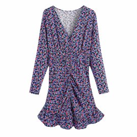 Purple Flower Print Dress Nihaostyles Wholesale Clothing Vendor NSAM75924