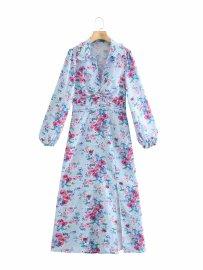 New Doll Collar Flower Print Fold Decoration Slit Dress Nihaostyles Wholesale Clothing Vendor NSAM75925