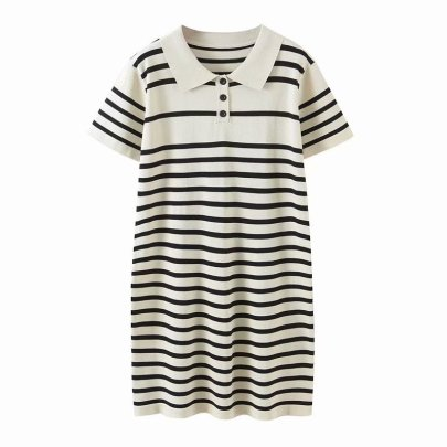 Collar Striped Ice Silk Knitted Dress Nihaostyles Wholesale Clothing Vendor NSAM75929