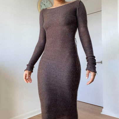Women's Knit Round Neck Pile Sleeves Solid Color Slim Dress Nihaostyles Clothing Wholesale NSXPF75933